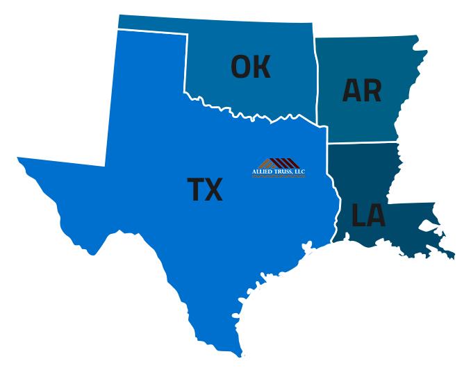 Map Of Texas Oklahoma And Louisiana.Areas We Service